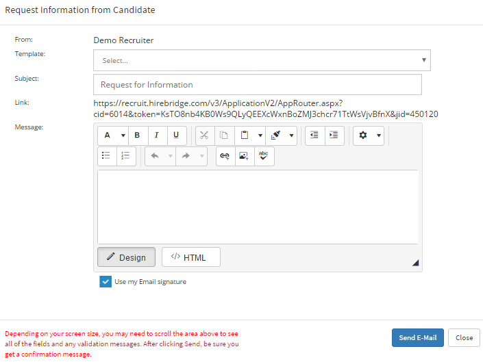 a pop up will now appear which will load the request information from candidate form